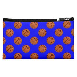 Brown Basketball Balls on Blue Makeup Bag