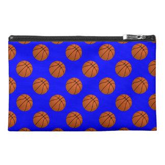 Brown Basketball Balls on Blue Travel Accessory Bag
