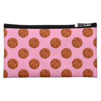 Brown Basketball Balls on Carnation Pink Cosmetic Bag