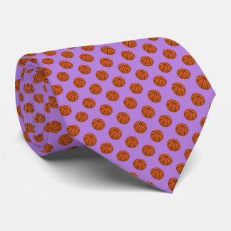 Brown Basketball Balls on Lavender Purple Tie