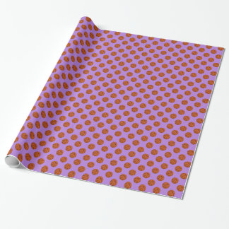 Brown Basketball Balls on Lavender Purple Wrapping Paper