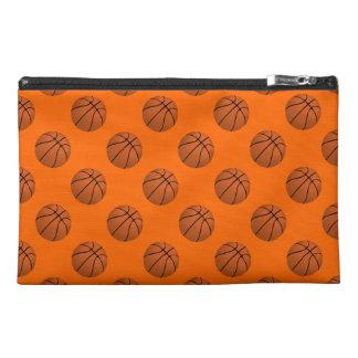 Brown Basketball Balls on Orange Travel Accessory Bag