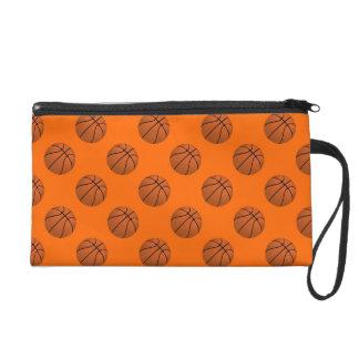 Brown Basketball Balls on Orange Wristlet