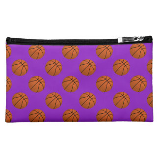 Brown Basketball Balls on Purple Makeup Bag