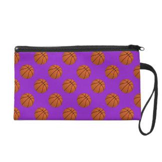 Brown Basketball Balls on Purple Wristlet