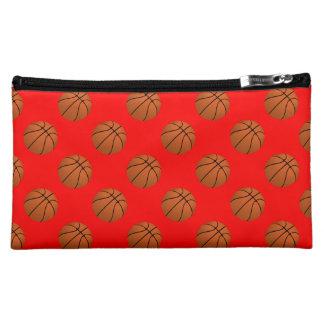 Brown Basketball Balls on Red Makeup Bag