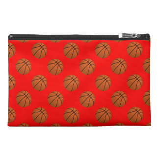 Brown Basketball Balls on Red Travel Accessory Bag