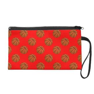 Brown Basketball Balls on Red Wristlet