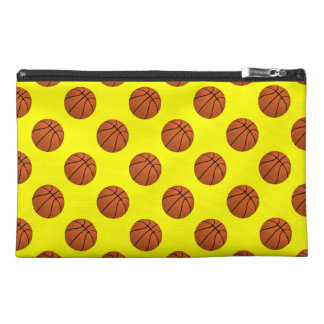 Brown Basketball Balls on Yellow Travel Accessory Bag