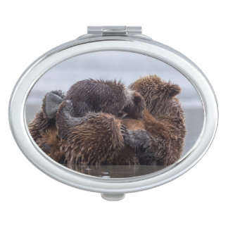 Brown bear and cubs 2 travel mirrors