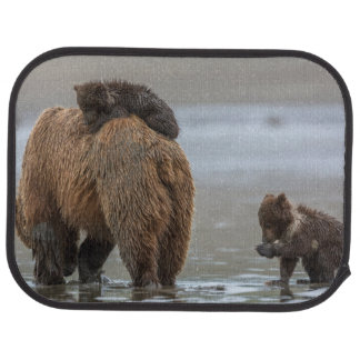 Brown bear and cubs floor mat