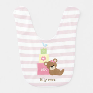 Brown Bear and Pink Toy Blocks Personalized Bib
