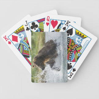 Brown Bear chasing salmon in river Bicycle Playing Cards