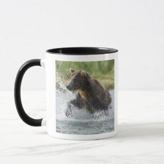 Brown Bear chasing salmon in river Mug