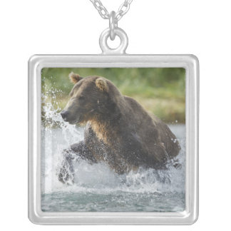 Brown Bear chasing salmon in river Silver Plated Necklace