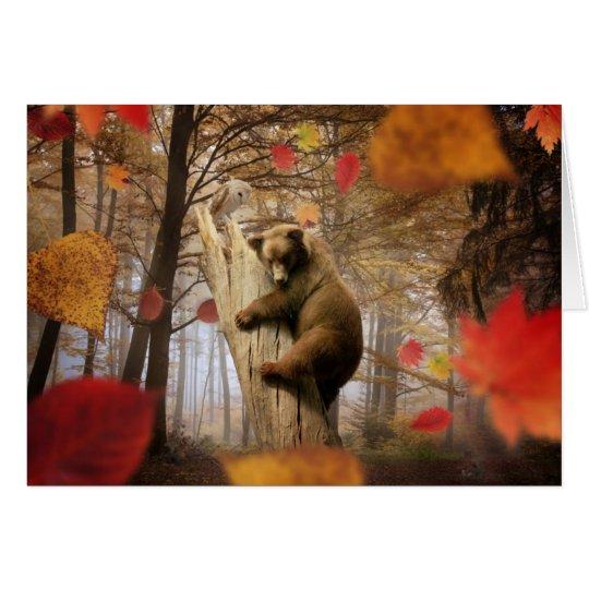 Brown bear climbing on tree card
