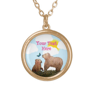 Brown Bear Cub and Mother with Butterfly Gold Plated Necklace