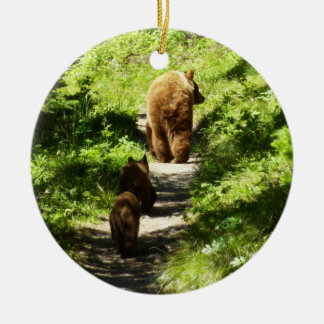 Brown Bear Family Round Ceramic Decoration
