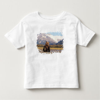 Brown bear, grizzly bear,  in riverbed with toddler T-Shirt