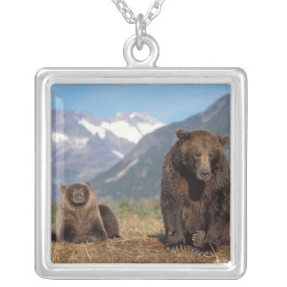 Brown bear, grizzly bear, sow with cub on silver plated necklace