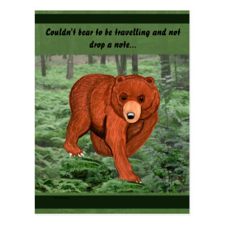 Brown Bear in Forest Post Card