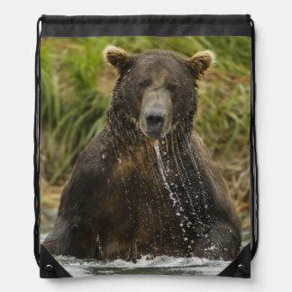 Brown bear, male, fishing for salmon drawstring bag