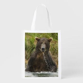 Brown bear, male, fishing for salmon reusable grocery bag