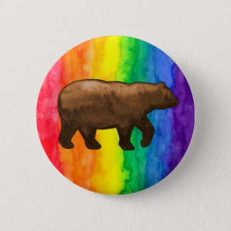 Brown Bear on Rainbow Wash Buttons