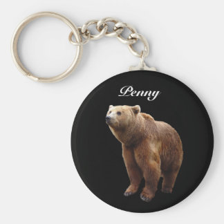 Brown Bear Personalized Basic Round Button Key Ring