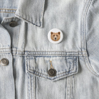 Brown bear, pin, button, woodland button