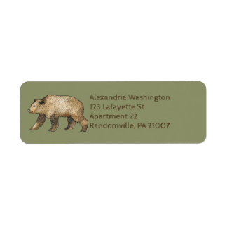 Brown Bear Sage Green Return Address Labels