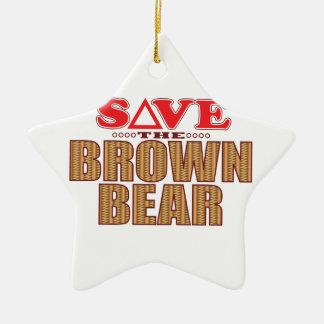 Brown Bear Save Christmas Ornament