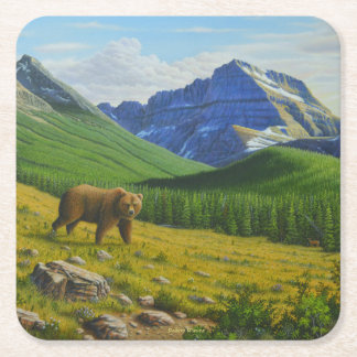 Brown Bear Square Paper Coaster