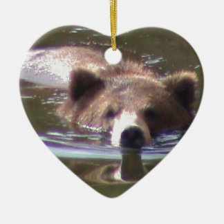 Brown Bear swimming Ceramic Heart Decoration