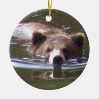 Brown Bear swimming Christmas Ornament