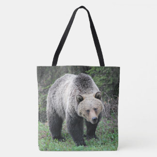Brown Bear Walking In The Woods Tote Bag
