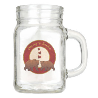Brown Bears Country Wedding Monogrammed Mason Jar