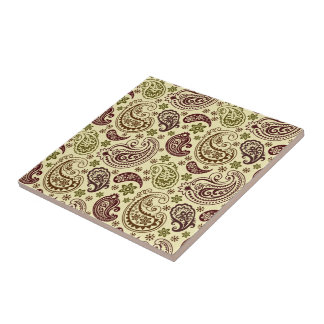 Brown Beige And Pastel Green Vintage Paisley Patte Small Square Tile