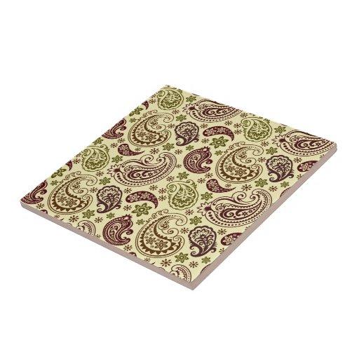 Brown Beige And Pastel Green Vintage Paisley Patte Ceramic Tile