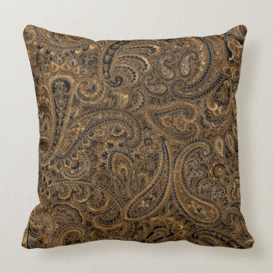 Brown, Beige & Black Floral Paisley Pattern Cushion