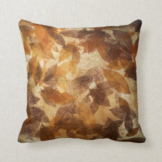 Brown Beige Gold Leafs Autumn Linen Cushion