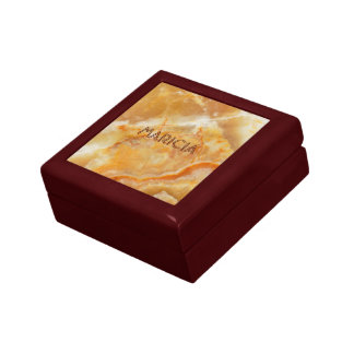 Brown & Beige Marble Image Small Square Gift Box