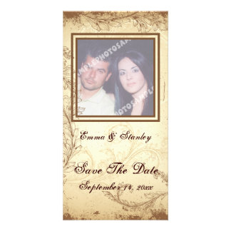 Brown beige scroll leaf wedding Save the Date Card