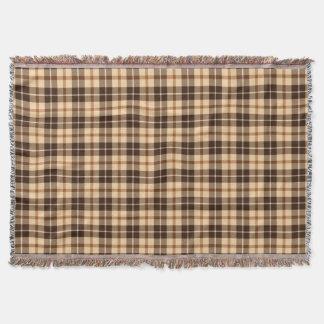 Brown beige Tartan plaid Throw Blanket
