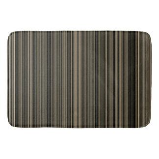 Brown Beige taupe retro stripe bath mat
