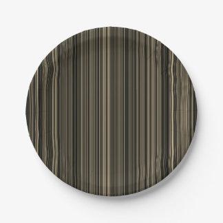 Brown Beige taupe retro stripe paper plate