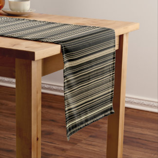 Brown Beige taupe retro stripe table runner