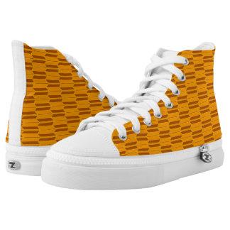 Brown Beige Yellow Geometric Pattern Printed Shoes