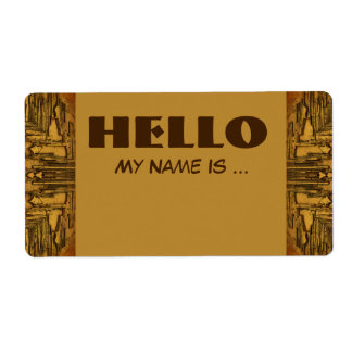 brown biege name badge shipping label