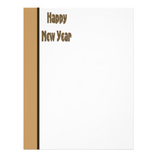 Brown Biege Simple Happy New Year 21.5 Cm X 28 Cm Flyer
